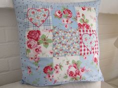 """Shabby Chic Patchwork Cushion  Cover   16"""" x 16"""""""