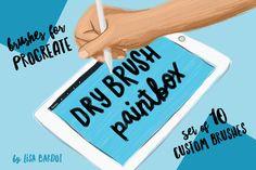 Dry Brush Paintbox for Procreate by LisaBardot on @creativemarket