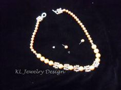 Caramel Glass Pearls Necklace and Earring Set by KL Jewelry Design $25.00