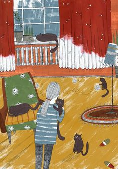 cat lady by Lu Green - Animalarium: cats