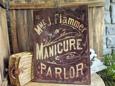 "Vintage style Manicure Parlor sign, with 2 hangers on the back. 24""W x 20""H  http://miascollection.com"