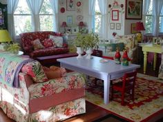 color and cottage, Florida charm., Everything is painted. Most from Allegan Antiques Market in Southwest Michigan                    , Livin...