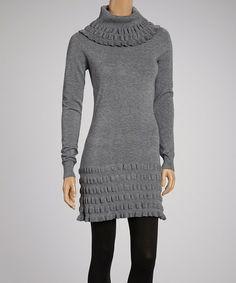 Gray Turtleneck Sweater Dress.