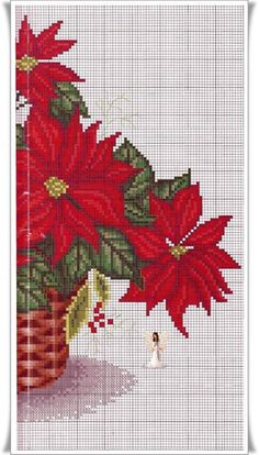 Xmas Cross Stitch, Cross Stitch Kitchen, Cross Stitch Flowers, Cross Stitch Charts, Cross Stitching, Cross Stitch Embroidery, Cross Stitch Patterns, Christmas Flowers, Christmas Cross