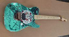 Telecaster Guitar Custom Day of Dead Floyd Relic Single Hum Musikraft USA Tele