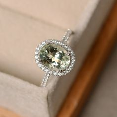 Green amethyst ring halo engagement ring oval cut by LuoJewelry
