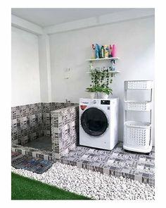 Minimal House Design, Modern Small House Design, Small Room Design, Home Room Design, Outdoor Laundry Rooms, Modern Laundry Rooms, Laundry Room Layouts, Living Room Decor Inspiration, Bungalow House Design