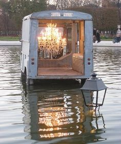 The wonders of photoshop, the water is deep enough to submerge the lamppost, but not the chandelier laden truck. Photo by. Hy Citroen, Trailer Park, Belgian Pearls, Bokashi, Just Dream, French Blue, French Style, French Country, Jolie Photo