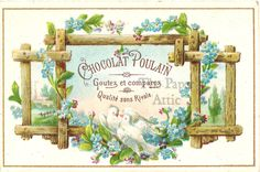 Blue Forget Me Not Flowers & Birds on Twig Trellis Antique Vtg French Trade Card