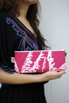 Upcycled graphic print clutch from Sea Oats.
