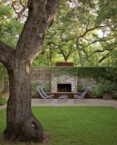 outside fireplace against wall contemporary outdoor fireplace, courtyard garden, stone wall, clean landscape Outdoor Rooms, Outdoor Gardens, Outdoor Living, Courtyard Gardens, Outside Fireplace, Fireplace Outdoor, Fireplace Wall, Brick Wall, Landscape Design