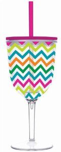 """Slant Cabana Zig Zag. Double Wall Acrylic Wine Glass With Pink Lid And Straw by Slant. $13.99. 13 oz. Size: 3.75"""" x 8"""". A BPA-Free plastic double-wall wine glass with a lid and straw, printed in a colorful motif."""