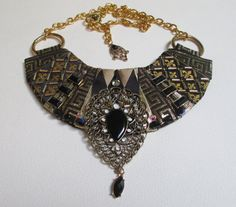Bib Collar Statement Necklace Black Gold Tone Lame by audreymivey, $48.00