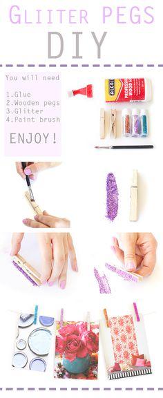 Glitter pegs DIY