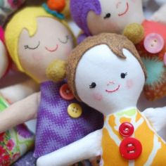Make the cute rag dolls with scraps of fabric and a few buttons!