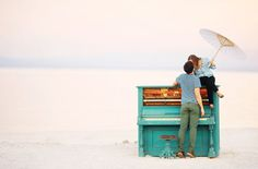 Engagement Photos with a Blue Piano and Holi Powder: Lolo + Brandon