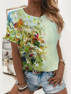 Floral Tops, Floral Prints, Shirt Bluse, Floral Theme, Basic Tops, Vintage Cotton, V Neck Tops, Neck T Shirt, Sleeve Styles