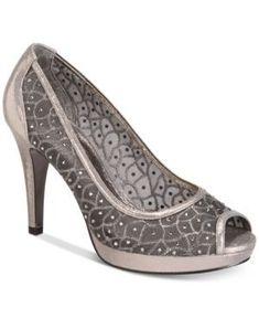 51a713d8b7d9 Adrianna Papell Foxy Peep-Toe Mesh Evening Pumps - Silver 6.5M   WomenShoesAthletic Peep