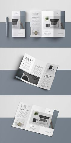 Layout Minimal Trifold Brochure Types Of La Brochure Indesign, 3 Fold Brochure, Template Brochure, Design Brochure, Brochure Layout, Business Brochure, Product Brochure, Flyer Template, Web Design