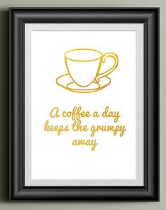 Coffee Typography Quote Print Coffee Kitchen Prints Wall Art Gift Word Art