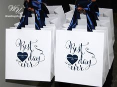 Wedding Gift Bags for guests  Navy blue satin ribbon and