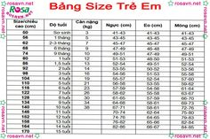 Bảng size trẻ em Dress Sewing Patterns, Clothing Patterns, Charts For Kids, Measurement Chart, Baby Shop, Sewing Techniques, Sewing Clothes, Baby Dress, Size Chart