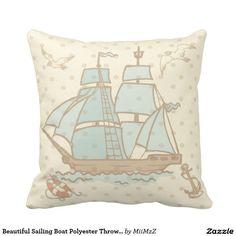 Beautiful Sailing Boat Polyester Throw Pillow