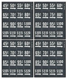 Price labels - 4 sheets, 64 labels, fits Vendo, Dixie Narco soda-FREE SHIPPING