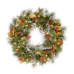 National Tree 24-Inch Wintry Pine Wreath with Timer - BedBathandBeyond.com