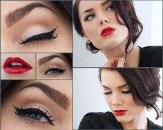Classic makeup.  You can't go wrong with simple black eye liner and killer red lips.