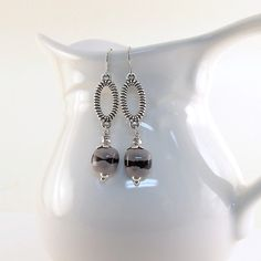 Gray and Black Stripe Earrings Kazuri Silver by CinLynnBoutique, $18.00