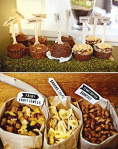 Love the simplicity of placing snacks in brown paper bags from this Nature Inspired Birthday Party