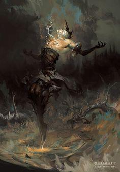 Baraqiel, Angel of Lightning, Peter Mohrbacher on ArtStation at https://www.artstation.com/artwork/1Lrx8