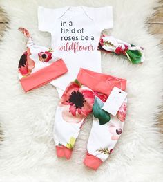 Baby Girl Outfit Baby Girl Clothes Coming Home Outfit Birthday Girl Outfit Coral Floral Outfit In a field of Roses be a Wildflower by LLPreciousCreations on Etsy Baby Outfits, Kids Outfits, Toddler Outfits, Baby Shoot, Outfit Des Tages, Shower Bebe, Home Outfit, Cute Baby Clothes, Newborn Baby Clothes