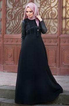 Muslima Wear Kolları Deri Elbise 1601004 Siyah