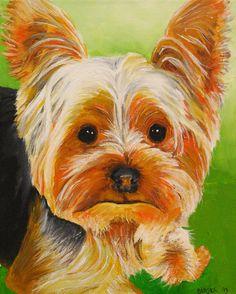 Yorkie Dog Art 8x10 Original Painting Yorkshire by RMBArtStudio, $70.00