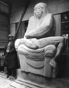 Jacob Epstein and his sculpture, Night one of his two  scultpures (Day & Night) commissioned for 55 Boardway