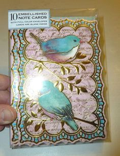 PUNCH STUDIO PINK & AQUA LOVE BIRDS DECORATIVE 10 NOTE CARD SET