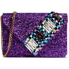 Gedebe Medium Fabric Bag ($455) ❤ liked on Polyvore featuring bags, handbags, purple, rhinestone studded handbags, messenger bag purse, mini purse, metallic handbags and miniature purse
