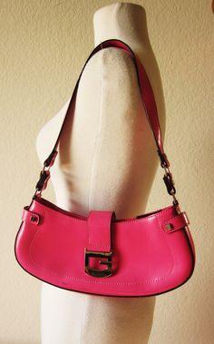 Vintage-Guess Shoulder Bag-Fuschia-Pink-Hot Pink Purse-Guess Purse, via Etsy.