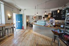 Society Cafe, Bath. Lovely baby blue La Marzoccco.