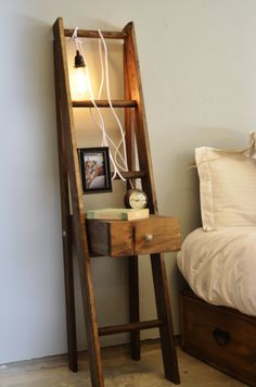 Ladder Nightstand with Drawer (250.00 USD) by KnotsandBiscuits