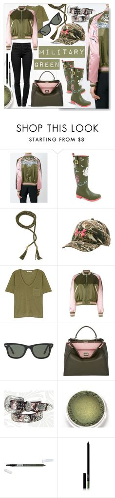 """""""Attention!  Go Army Green"""" by calamity-jane-always ❤ liked on Polyvore featuring Alexander McQueen, Joules, Under Armour, T By Alexander Wang, Ray-Ban, Fendi, Montana West, Isadora, NARS Cosmetics and Proenza Schouler"""