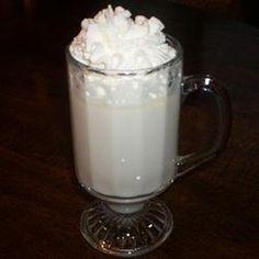 Snow Flake Cocoa Recipe - you make in slow cooker. Easy and Delicious, whipping cream, milk,vanilla, & 1 pack white choco. chips.
