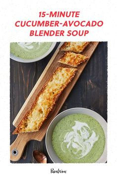 Thankfully, we've created a lazy version that still produces delightfully flavorful results: 15-minute blender cucumber-avocado soup. Vegan Dinner Recipes, Vegan Dinners, Dairy Free Recipes, Wine Recipes, Soup Recipes, Cooking Recipes, Cooking Food, Easy Cooking, Blender Soup