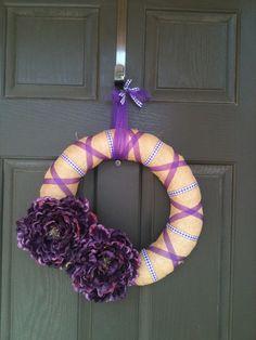 Purple Flower Burlap Wreath by PolkadotsOriginals on Etsy