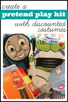 Stock up on discounted Halloween costumes to create your very own pretend play kit.  What a great gift idea for Christmas or birthdays!