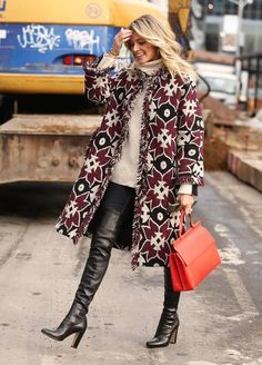 Helena Bordon attended New York Fashion Week with her Tory Burch T Satchel and jacket
