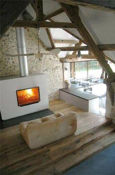 Location vacances maison Wissant: Salon avec cheminée feu de bois