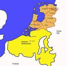 1588 Republiek der Zeven Verenigde Nederlanden De noordelijke gewesten maakten zich in 1588 los van de Spaanse koning. Zij waren nu een onafhankelijke Nederlandse staat zonder koning: de Republiek der Zeven Verenigde Nederlanden. Het zuiden van Nederland en België bleef trouw aan de Spaanse koning. Toch ging de strijd door. De Opstand ging over in een oorlog tussen de staten Spanje en Nederland. Pas in 1648 sloten Spanje en Nederland vrede. Vanaf 1578 bloeide de economie in Nederland op.